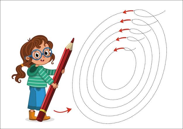 Практика рисования с милой маленькой девочкой иллюстрации векторные иллюстрации