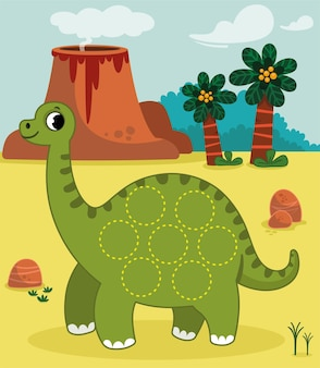 Drawing practice with the dinosaurs theme for children vector illustration