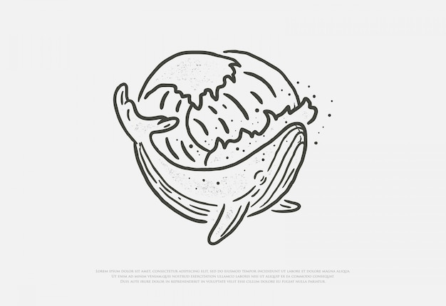 Drawing of premium whale and wave with line style