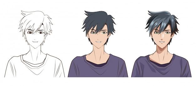 Процесс рисования молодого человека аниме стиль персонажа векторная иллюстрация дизайн