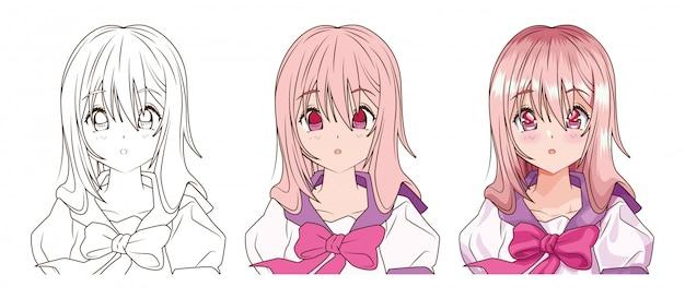Процесс рисования молодой женщины аниме стиль персонажа векторная иллюстрация дизайн