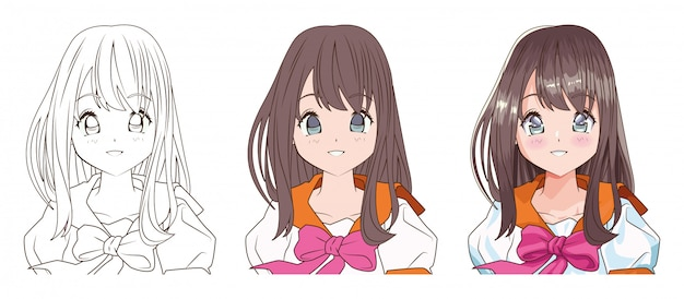 Drawing process of young woman anime style character vector illustration design