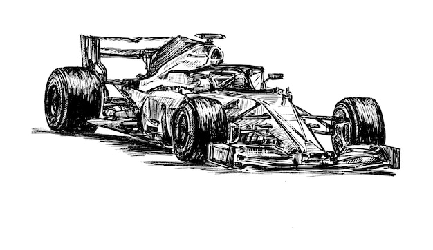 Drawing racing car hand draw