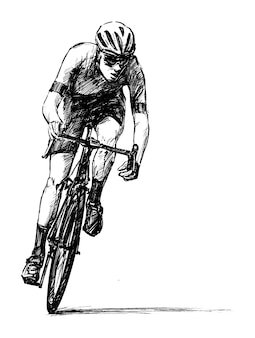 Drawing of road bicycle hand draw