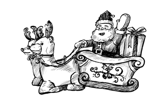 Drawing of the santa claus hand draw