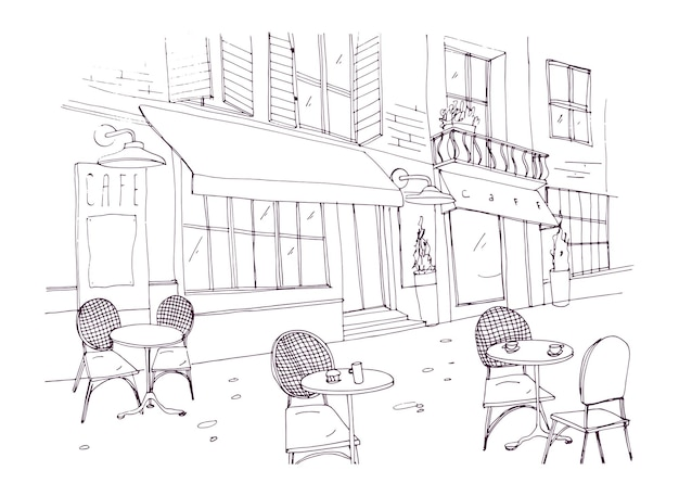 Drawing of sidewalk cafe or restaurant with tables and chairs standing on city street beside antique building