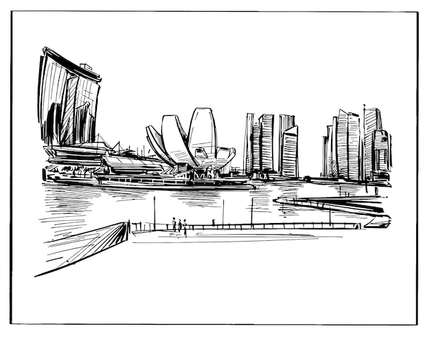 Drawing of the singapore skyline