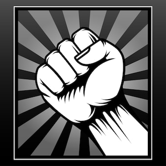 Drawing single fist isolated on black