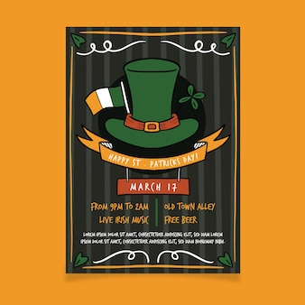 Drawing of st. patricks day flyer template theme