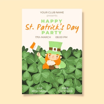 Drawing of  st. patricks day flyer template