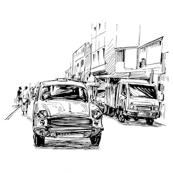 Drawing of the taxi in india
