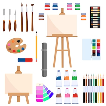 Инструменты для рисования. креативные материалы для художественной мастерской в мультяшном стиле. вектор