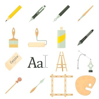 Drawing tools icons set