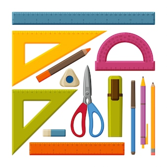 Drawing tools set. school measuring ruler with centimeters and inches. size indicators with different unit distances.  pencils, pens and scissors.  illustration.