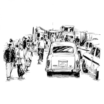 Drawing of the traffic on street in india