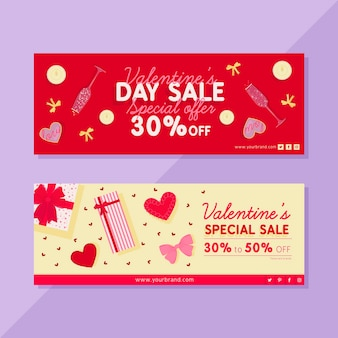 Drawing of valentines day sale banners
