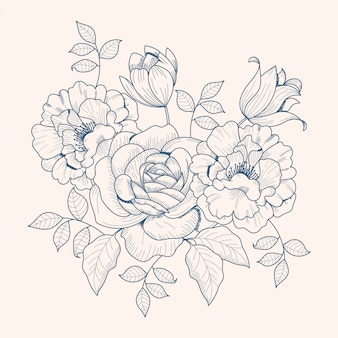 Drawing of vintage floral bouquet