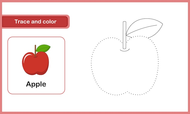 Drawing and vocabulary worksheet, trace and colour : apple