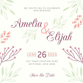 Drawing of wedding invitation template concept