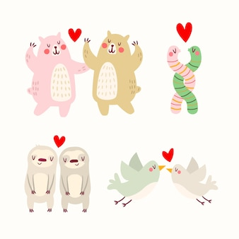 Drawing with animal couples