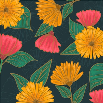 Drawing with colorful floral pattern