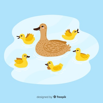 Drawing with duck and ducklings design