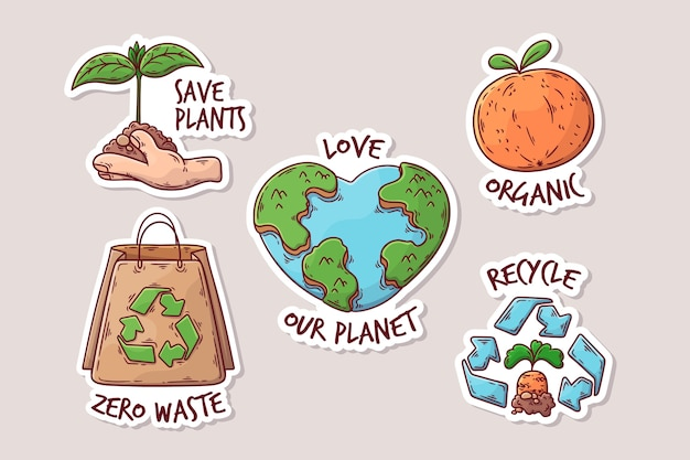 Drawing with ecology badges concept