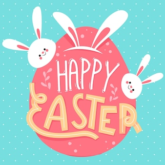 Drawing with happy easter day concept