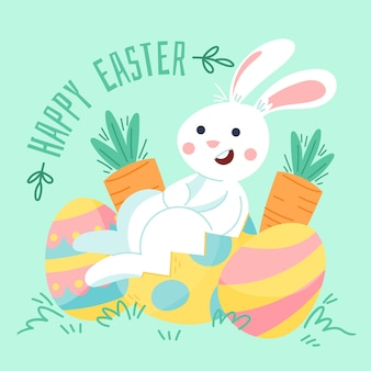 Drawing with happy easter day