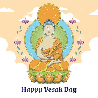 Drawing with happy vesak day concept