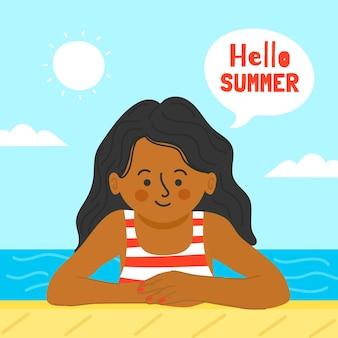 Disegnando con il concetto di estate di ciao