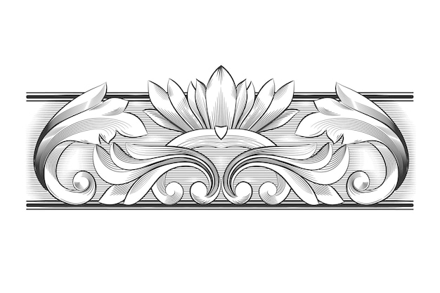 Drawing with ornamental border in baroque style