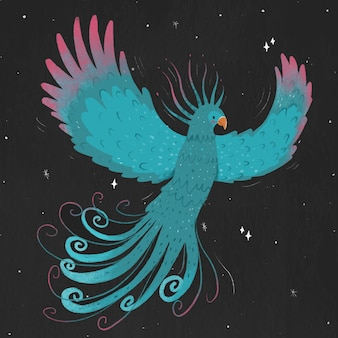 Drawing with phoenix concept Free Vector