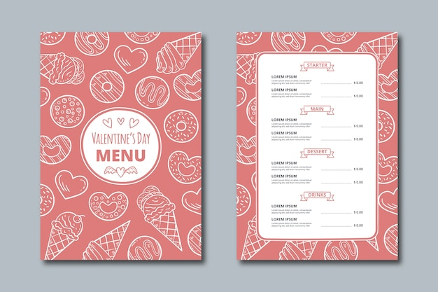 Drawing with valentines day menu