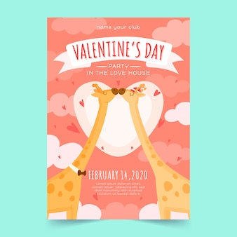 Drawing with valentines day party poster template