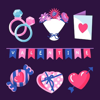 Drawing with valetines day element collection