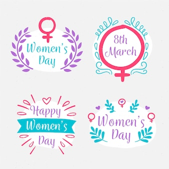 Drawing with womens day badge collection