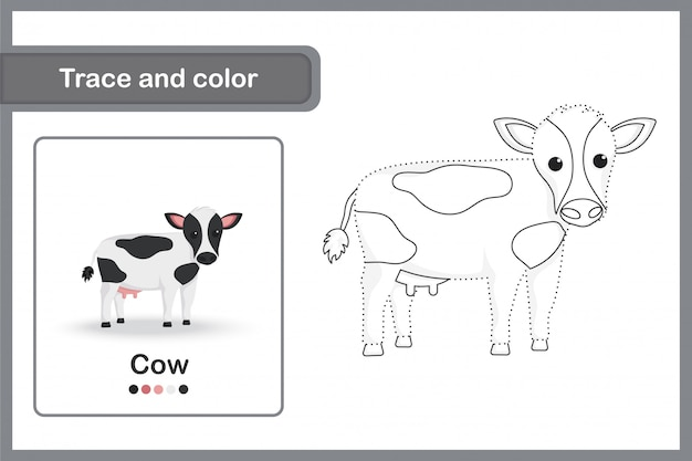 Drawing worksheet for preschool kids, trace and colour : cow