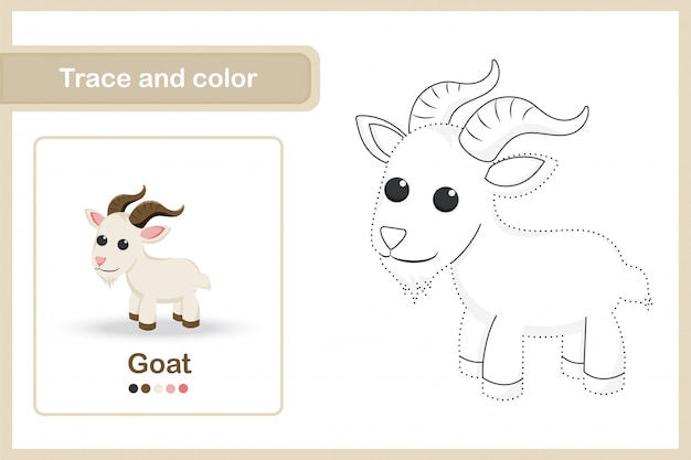 Drawing worksheet for preschool kids, trace and colour : goat