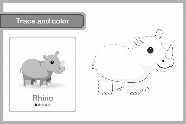 Drawing worksheet for preschool kids, trace and colour : rhino