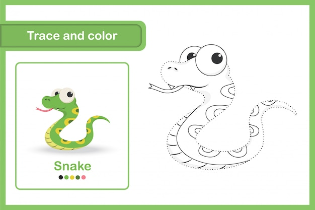 Drawing worksheet for preschool kids, trace and colour : snake