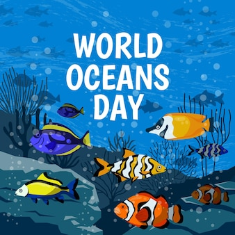Drawing of world oceans day illustration theme
