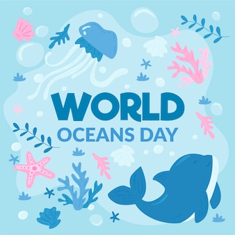 Drawing of world oceans day illustration