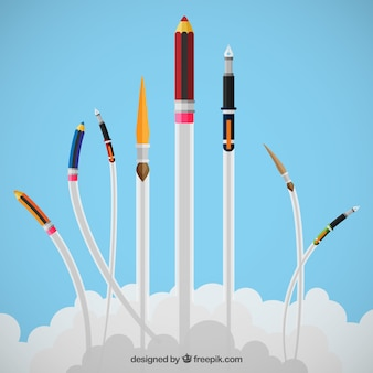 Drawing and writing tools flying
