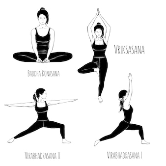 Drawing of yoga pose set isolated on white