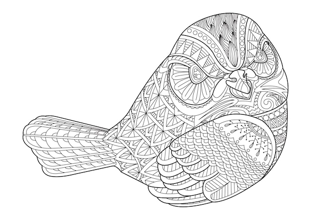 Drawing zentangle bird for coloring page