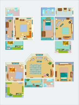 아파트 레이아웃 도면. 주방, 욕실 및 거실의 상위 뷰 사진. 인테리어 아파트 그림의 계획