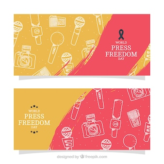 Drawings of the world press freedom day banners