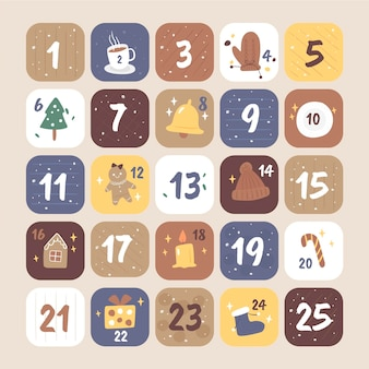 Drawn advent calendar with christmas elements