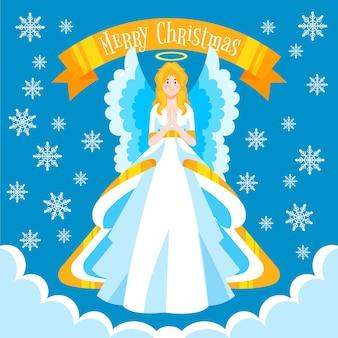 幸せなクリスマスのテキストで描かれた天使